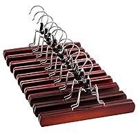 Premium Wooden Trouser Hangers (Set of 10) Solid Lacquered Non Slip Wooden Hangers - 360° Swivel Hook - Cloth Safe Lock Skirt Hangers - for Skirts, Pants, Jeans, Slacks, Shorts - Clip Clothes Hangers