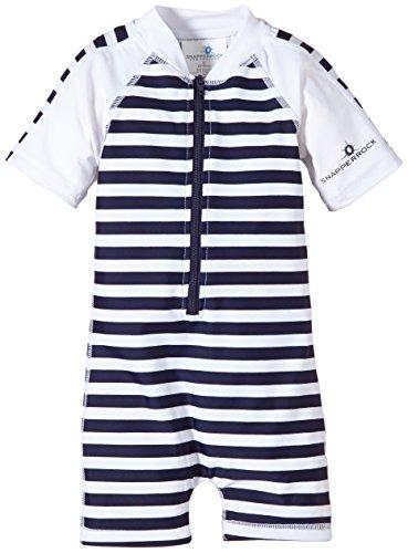 Snapper Rock Baby Jungen & Baby Mädchen UPF 50+ UV schützend warm Kurzarm Badeanzug für Kinder Dunkelblau/Weiß/Streifen 12-24 Monate, 86-92cm