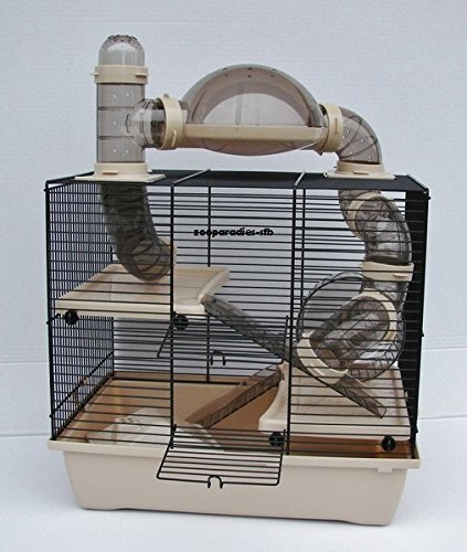 Nagerkäfig,Hamsterkäfig,Zwerghamsterkäfig, Rocky,Teddy Lux,Hamster,Maus,Nager,Käfig,Mäusekäfig incl. Röhrensystem in beige + beiger Schale + NEW