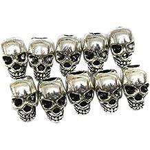 PIXNOR Espaciador de cráneo 30pcs cuentas accesorios de bricolaje para pendientes collar (plata)