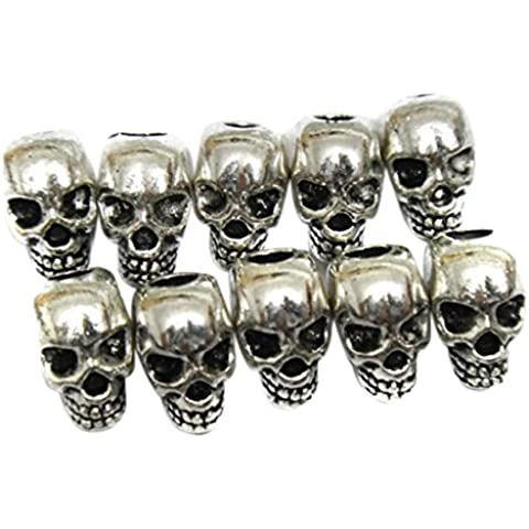 PIXNOR - Confezione di perline spaziatrici, per orecchini o collane fai-da-te, motivo: teschio, colore: argento, confezione da 30