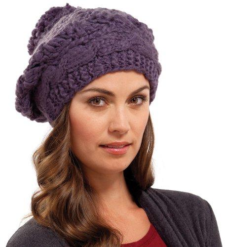 RJM Accessories Damen-Baskenmütze mit Bommel, Romben, gestrickt, grob Gr. Einheitsgröße, anthrazit (Diamond Hat Knit)