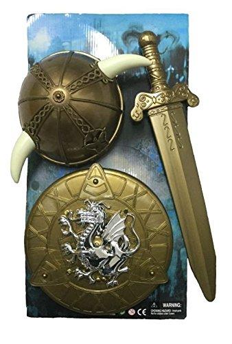 3-tlg. Wikinger-Set, Helm Schwert, Schutzschild, Rüstung, Kostümzubehör (Prinz Rüstung)