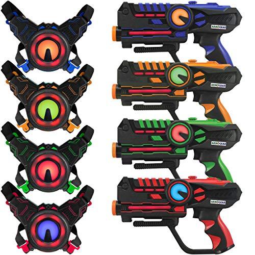 ArmoGear Lasertag Infrarot-Tagger und - Westen - Laser Game 4er Set - Infrarot- Laser mit 0,9 mW