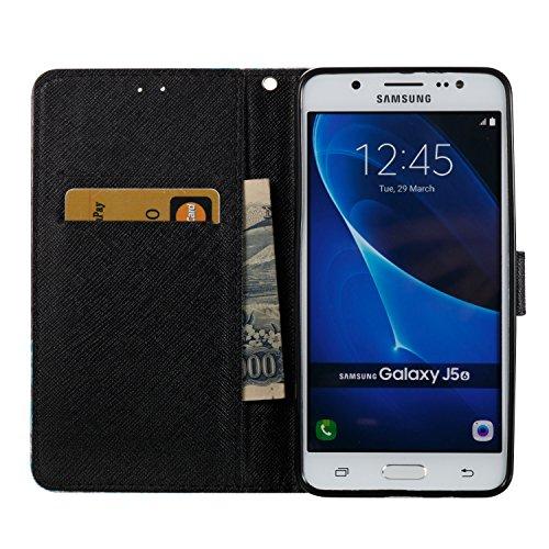 3D Galaxy J5 (2016) J510 Hülle, PU Leder Hülle für Ledertasche Schutzhülle Case[Stand Feature] Flip Case Cover Etui mit Karte Slots Hülle für Samsung Galaxy J5 (2016) J510 +Staubstecker (10) 3