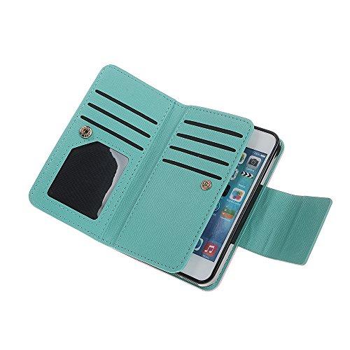 xhorizon FX Prämie Leder Folio Case [Brieftasche] [Magnetisch abnehmbar] Uhrarmband Geldbeutel Flip Vogel Tasche Hülle für iPhone 5 5s mit einer Auto Einfassungs Halter Pink