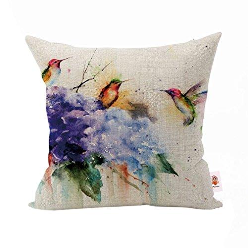 Nunubee Geschenk Kissenbezug Dekokissen Haus Dekoration Zierkissenbezüge weich Quadrat Sofa Kissen Bunte Vögel
