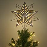Valery Madelyn 28cm/11 Inch Pre-Lit Elegant Champagne Gold Christmas Tree Topper, Metal Tree Top Star with 10 Warm LED Lights, Themed with Tree Skirt, Battery Operated (Not Included)