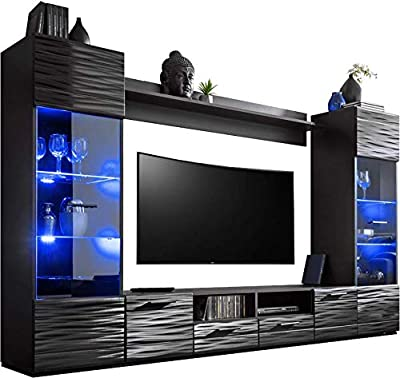ExtremeFurniture - 260cm Length - 15 Colour LED - Freestanding Tall Cabinet - Modern Living Room Furniture Set Storage Display Multicolour LEDs - Wall Shelf High Gloss