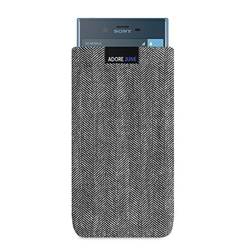 Adore June Business Tasche für Sony Xperia XZs/Xperia XZ Handytasche aus charakteristischem Fischgrat Stoff - Grau/Schwarz | Schutztasche Zubehör mit Display Reinigungs-Effekt | Made in Europe