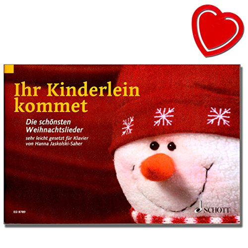 Ihr Kinderlein kommet - Die schönsten Weihnachtslieder sehr leicht gesetzt - für Kinder ab 7 Jahren geeignet - mit bunter herzförmiger Notenklammer