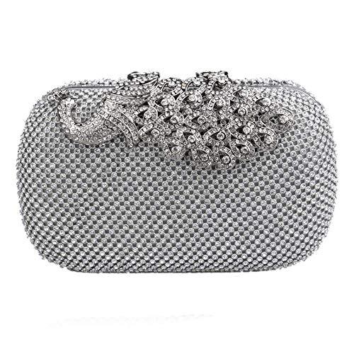 Damen Clutch Bag im chinesischen Stil Pfau Diamant Abendtasche Hochzeit Handtasche Party Prom Handtaschen (Farbe : Silver, Größe : 16 * 5.5 * 9.5cm) ()
