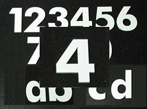 Hausnummer 4 - HÖHE: 65mm, 3mm dick (KEINE dünne Folie), witterungsbeständig, schönes Design und sehr einfache Montage (kleben statt bohren) NUMMER, ZAHL für Haustür, Tür, Briefkasten u. Sprechanlage in WEISS aus PLEXIGLAS -