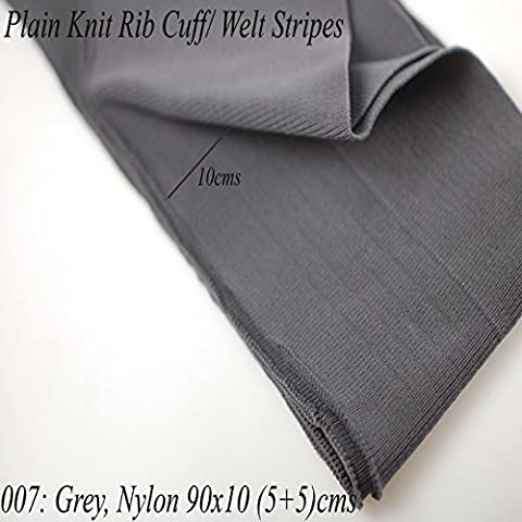Neotrims Knit Rib Cuff Waistband Plain Stretch Trimming, Bomber Jackets Ribbing Welt and Neck Band Ribs for Jackets, Bombers, or any Apparel Garments Edging. Stretch Resilient Ribs. Limited Stocks, Supplied as 2 Strips, Great Value! - #007 Grey 90X10Cm