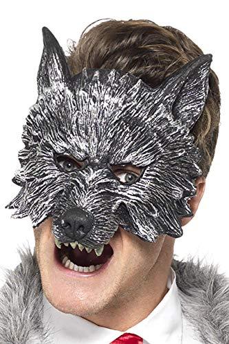 Kostüm Werwolf Kind Deluxe - Smiffys Herren Großer Böser Wolf Maske, One Size, Grau, 20348