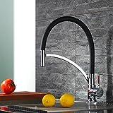 Homelody® Schwarz Spültischarmatur Spiralfederarmatur für die Profiküche Wasserhahn KüchenarmaturMischbatterie Wasserkran