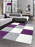 Shaggy Teppich Hochflor Langflor Bettvorleger Wohnzimmer Teppich Läufer Karo lila grau Creme Größe 60x110 cm