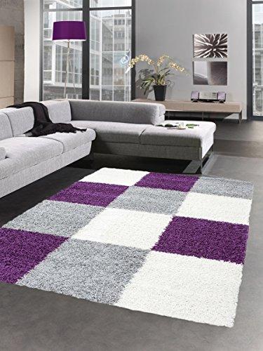 lor Langflor Bettvorleger Wohnzimmer Teppich Läufer Karo lila grau Creme Größe 80x150 cm ()