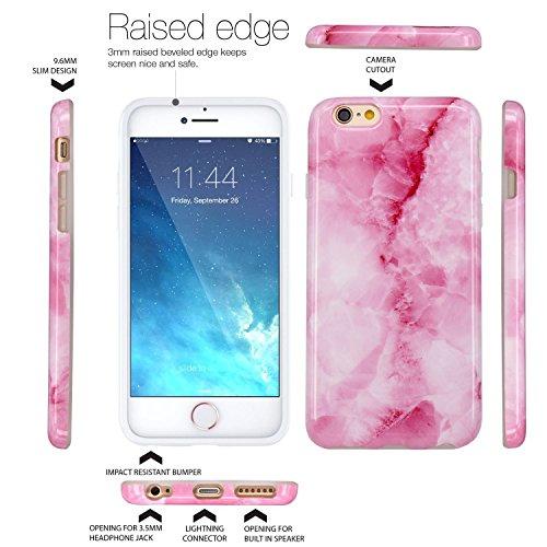 iPhone 6 Hülle, iPhone 6S Hülle, JIAXIUFEN Shiny Rose Gold Gray Marmor Design Soft TPU Silikon Schutz Handy Hülle Handytasche HandyHülle Case Cover Tasche Schutzhülle für iPhone 6 Rosa Pink