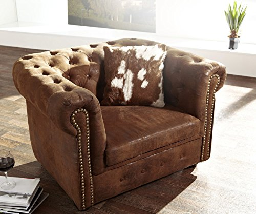 DELIFE Chesterfield Braun Antik Optik Sofa