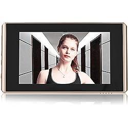 Eboxer Caméra Judas Numérique Sonnette sans Fil Visuelle Objectif 160 ° Grand Angle 2 Millions Pixels 4,3 Pouces Ecran LCD HD Vision Nocturne Détection de Mouvement 24 Heures Surveillance pour Maison