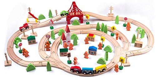 Holzeisenbahn für Jungen und Mädchen geeignet, 100- teilig, Kompatibel mit allen gängigen Major Brands Eisenbahnen, Buchenholz, Holzschienen, Schienenbahn System, großes
