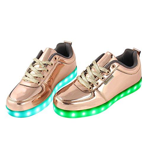 Angin-Tech LED Chaussures,7 Couleurs de Recharge USB Enfants Souliers de Clignotants Sneakers de Garçon et Fille pour l'Anniversaire Grâce de Noël Donnant avec Certificat CE Or