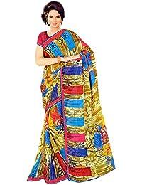The Wardrobe Women's Georgette Saree(Wardrobe009_Multi-Coloured_Free Size)