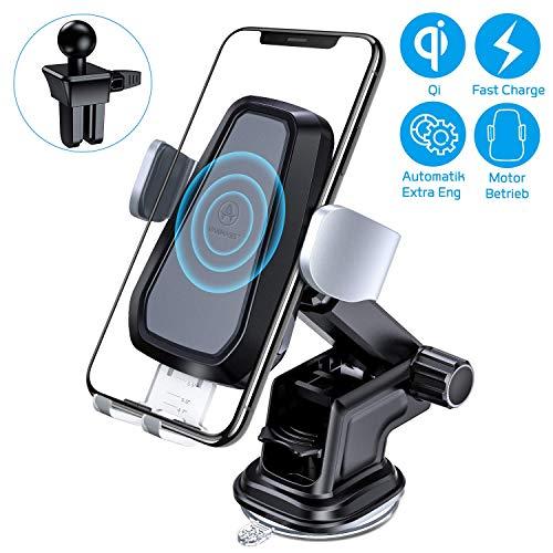 VANMASS Wireless Charger Auto Handyhalterung Automatisch Motor Betrieb 10W Kfz Induktive Ladestation 2 in 1 LED mit Lüftung & Saugnapfshalter für iPhone XS/X/8P Galaxy S9 / S8 und andere Qi Fähige