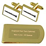 Musica clarinetto Gold-tone gemelli denaro inciso Clip Set regalo