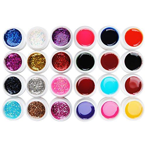 Coscelia Manucure Gel UV Grande Paillette et Transparent Nail Art Kits