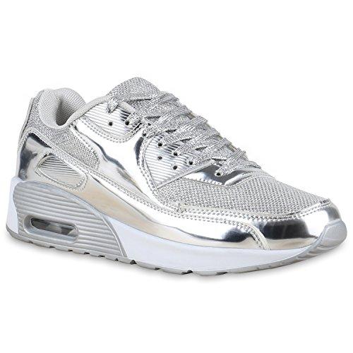 Neon-trainer (Damen Herren Unisex Sport Lack Prints Zipper Neon Lauf Runners Trainers Übergrößen Schuhe 132518 Silber Lack Bexhill 42 Flandell)