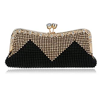 Women Evening Clutches Cocktail Handbags Rhinestone Crystal Clutch For Wedding Party (Black ...