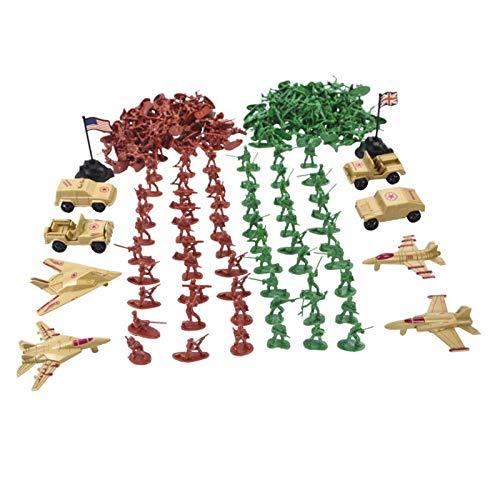 B Blesiya Juguete de Campo de Batalla Figura de Soldados con Vehículos Militares en Miniatura Accesorios de Escena de Arena - #3- 210pcs