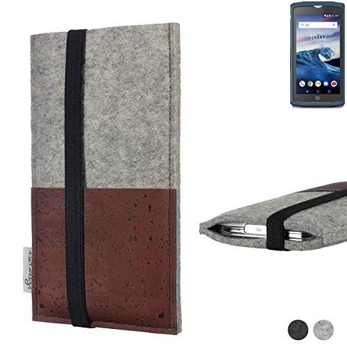 flat.design Handy Hülle Sintra für Crosscall Core-X3 Handytasche Filz Tasche Schutz Kartenfach Case braun Kork