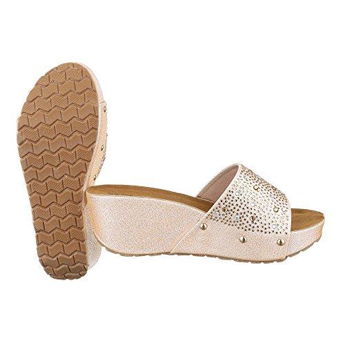 Pantoletten Damen Schuhe Jazz & Modern Keilabsatz/ Wedge Keilabsatz Ital-Design Sandalen / Sandaletten Gold