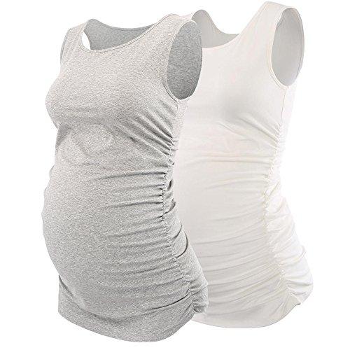 ZUMIY Magliette Maniche Corte Donna Grey+White/2 pk Small