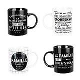 WEB2O Set Lot Ensemble 4 Tasses Mug Café Collection Famille Bonheur Maman Papa