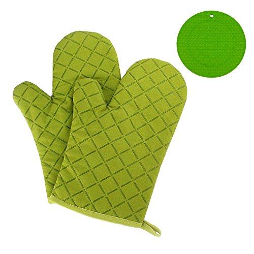 Gants de cuisine Gofriend antidérapant, gants de four résistant à la chaleur gants de cuisine pour les barbecues, la cuisine, la boulangerie, 1 paire, avec coque en silicone résistant à la chaleur et sous-verre isolants Green