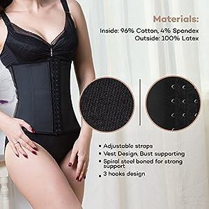 Corset Reductor Adelgazante Mujer S/ M/ L/ XL Corsé Sexy Cintura Cintorón de entrenamiento, Reduce la cintura, Modelador de cuerpo, forma reloj de arena, Interior: 96% Algodón, 4% de Lycra de Sable