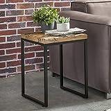 Wohnling Beistelltisch BELLARY 40x38x55 cm Massivholz Tisch mit Metallgestell | Industrie Couchtisch Eckig Modern Holztisch mit Metallbeinen | Loft Design Wohnzimmertisch Modern