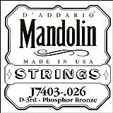 D\'Addario Corde seule en bronze phosphoreux pour mandoline D\'Addario J7403, troisième corde, .026
