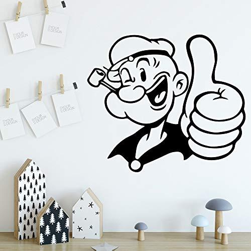 YuanMinglu Kreative Popeye Wandaufkleber Entfernbare Wandaufkleber DIY Tapete Entfernbare Vinyl Wandbild Tapete Party Dekoration Tapete Schwarz L 43 cm X 49 cm -