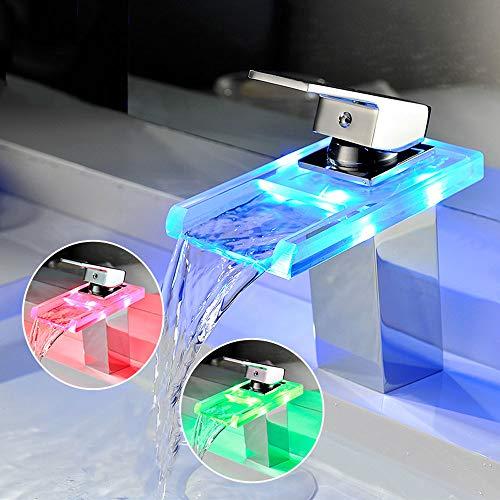 Preisvergleich Produktbild KR Armaturen Hohe Qualität LED-Glas Einhebel Universal-Wasserhahn Kühler Temperatur Veränderbar Einfach Ersatz Waschbecken Badezimmer Küche