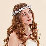 OKBO Mujer/Niña Diadema Corona Flores para Cabello Garland Halo Accesorios Artificiales de Seda de hilo de Decoradas con Flores Adultos o Niños(Rosado)