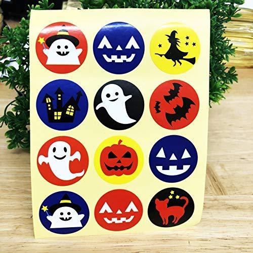 Peperlonely 12 Verschiedene Designs Halloween-Aufkleber, Kawaii-Siegel, 3 cm, 120 Stück