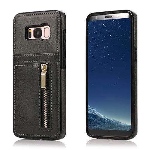Yobby Hülle für Samsung Galaxy S8 Plus,Ultra Slim Retro PU Leder Brieftasche Handyhülle mit Kartenfach Rückseite und Reißverschluss,Stoßfest Bumper Schutzhülle für Samsung Galaxy S8 Plus-Schwarz -