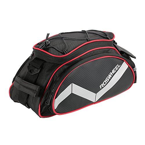 docooler-Handtasche der Fahrrad 13L Multi-Funktionen der Tasche des Fahrrad Rücksitz Tasche hinten der Umhängetasche, Schwarz / Rot (Fahrrad-handtasche)