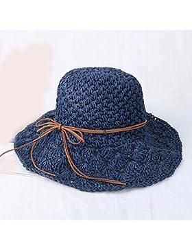 LVLIDAN Sombrero para el sol del verano Lady Anti-Sol Playa sombrero de paja plegable azul