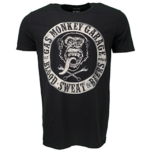 Gas-Monkey-Garage-Blood-Sweat-Beers-T-shirt-Black-Official-Licensed
